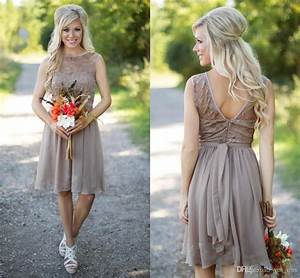 2016 hot champagne country style bridesmaid dresses jewel With western dresses for wedding guests