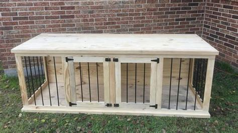 plans  build   wooden double dog kennel size