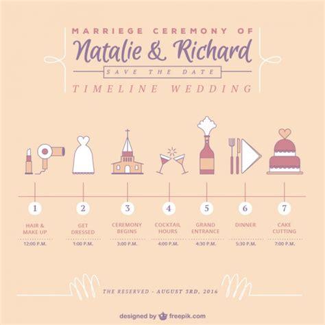 schattige tijdlijn bruiloft vector gratis