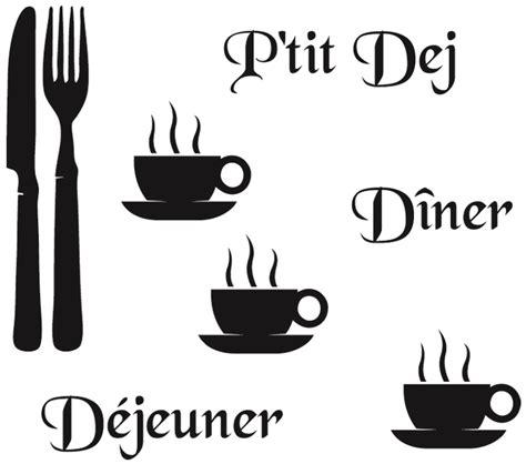 cuisine chocolat et vert anis stickers cuisine couverts tasses mots deco cuisine