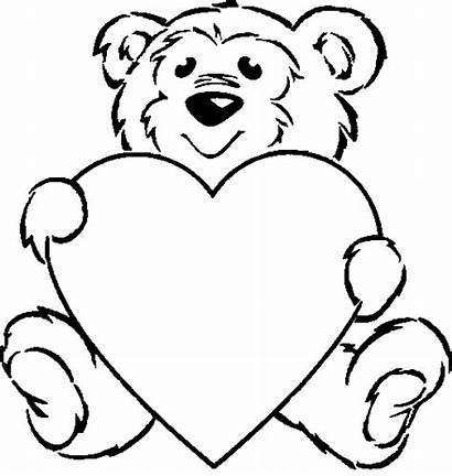 Hearts Coloring Pages Heart Bear Sheets Teddy