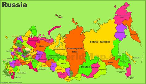 administrative divisions map  russia