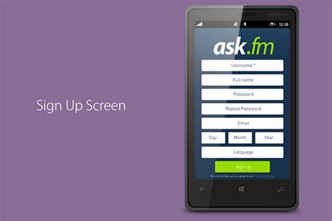 ask fm app for windows phone on behance