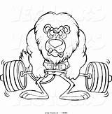 Coloring Cartoon Lion Pages Fitness Weightlifting Health Lifting Weight Vector Drawing Printable Outlined Leishman Ron Strength Barbell Royalty Clipart Getdrawings sketch template