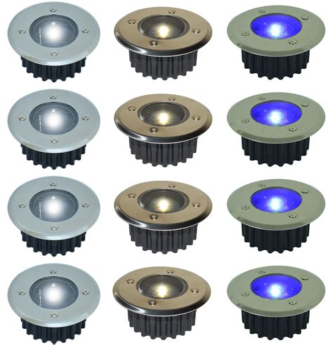 solar powered led deck lights white or blue stainless