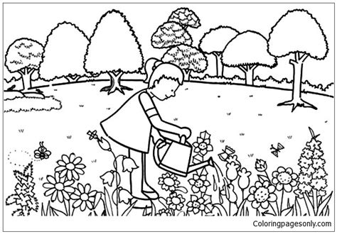 Dazzling Coloring Pages Garden Little Girl Pouring Water