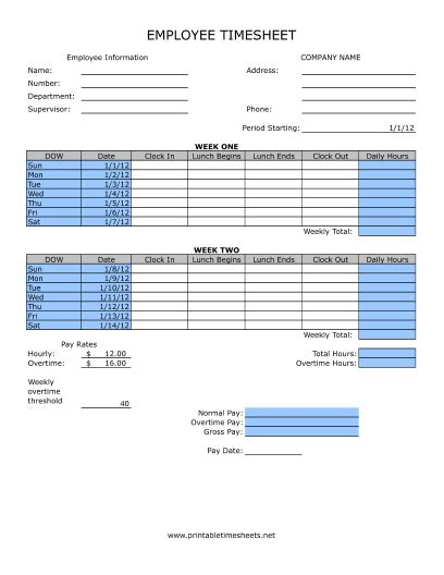 timesheet  lunch printable time sheets