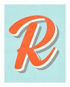 the letter r original art print typography alphabet With letter typography art