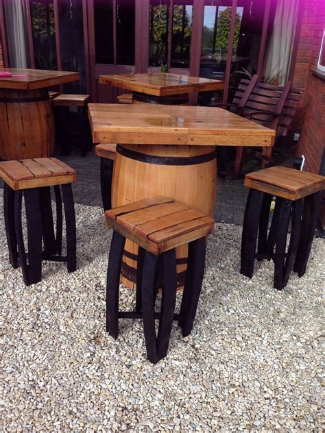 barrel table and chairs secondhand vintage and reclaimed bar and pub square
