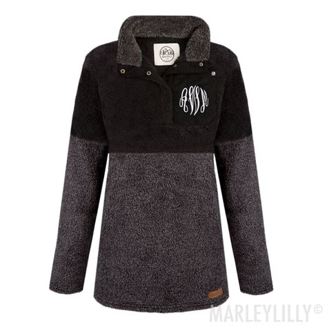 monogrammed colorblock sherpa pullover quilted vest pullover monogrammed scarf