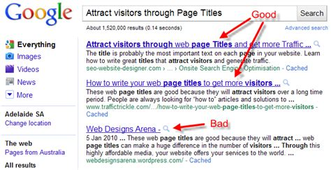 Web Page Optimisation by Search Engine Optimization On Page Titles