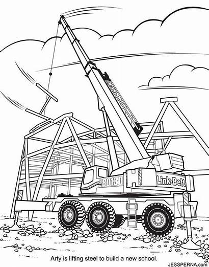 Crane Coloring Construction Pages Wrecking Ball Truck