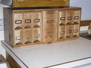 Cherry Counter top Middle Drawer Tea Storage Cabinet Handmade