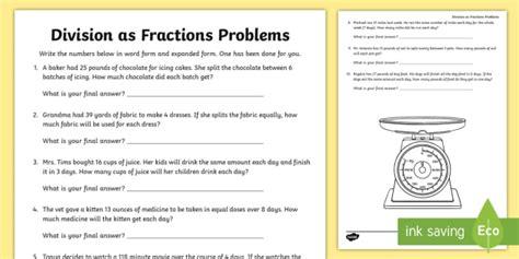 division  fractions word problems worksheet teacher