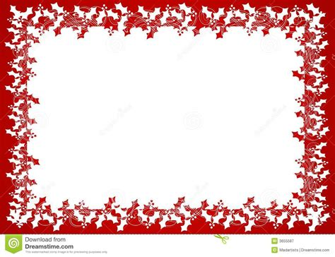 red white holly leaf frame  border stock illustration
