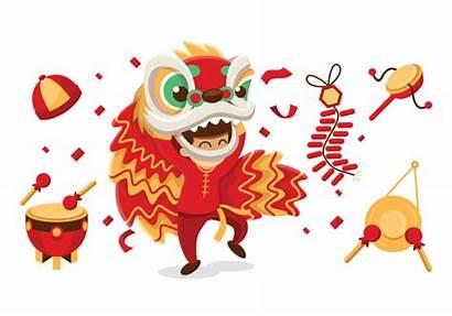 Lion Dance Chinese Vector Dragon Cartoon Illustration
