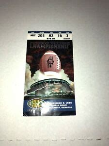 SEC 1998 Championship Football Ticket Stub Tennessee VS ...