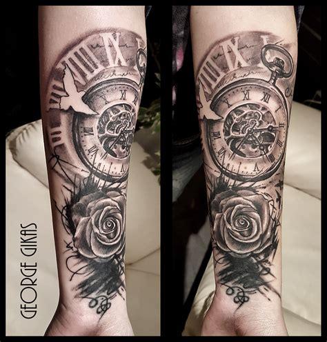 time clock  roses tattoo rose tatoo