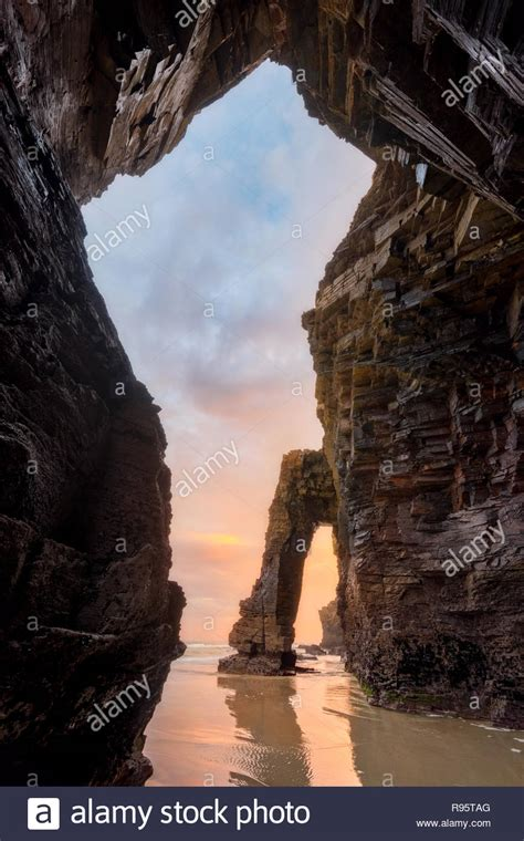 Beach Cathedrals In Ribadeo Galicia Stock Photos And Beach
