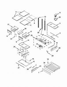 Shelf Parts Diagram  U0026 Parts List For Model Wrf736sdaw13
