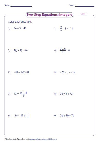 two step algebra equations worksheet two step equation worksheets