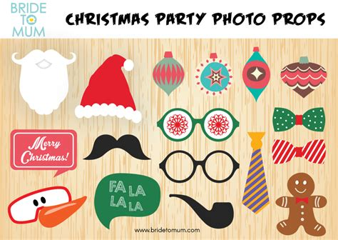 christmas photo booth props  printable  bride  mum