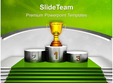 golden trophy  winner podium powerpoint templates