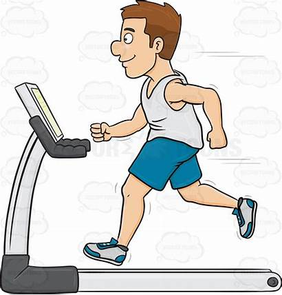 Treadmill Cartoon Clipart Exercise Animated Fitness Workout