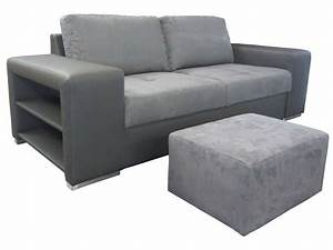 canape fixe 3 places pouf sempre coloris gris With canape sempre
