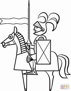 Cartoon Knight on Horse coloring page | Free Printable ...