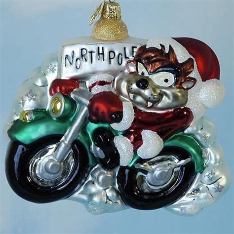 rare christopher radko taz motorcycle santa christmas