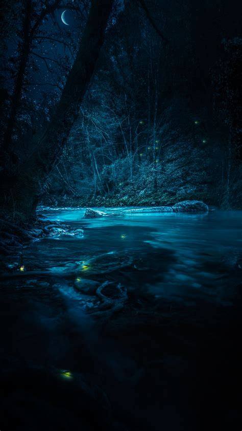wallpaper river stream fairies night forest