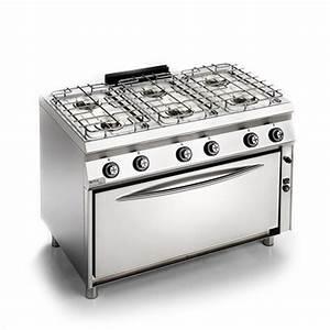 piano cottura professionale 6 fuochi e forno gas unico 700 With cucine a gas con due forni
