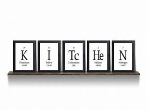 Kitchen periodic table framed piece wall plaque set each