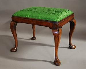 Early 20th Century Walnut Cabriole Leg Stool In The Queen
