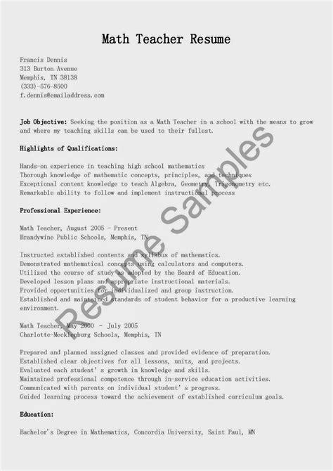 resume samples math teacher resume sample
