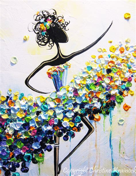 colorful wall decor giclee print abstract dancer painting aqua blue canvas
