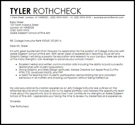 cover letter for college instructor cool college instructor resume cover letter gallery