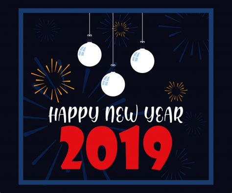 Happy New Year 2019 Lettering Vector