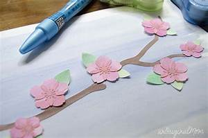 Cherry Blossom Watercolor Wall Art with your Silhouette