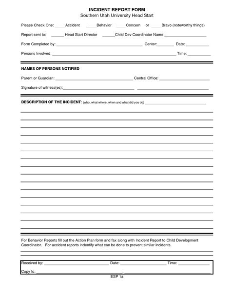 general incident report form template best photos of standard incident report form risk management incident report form free