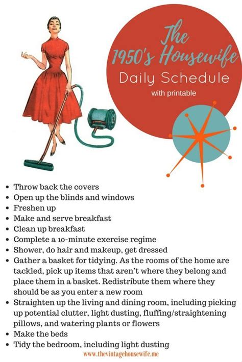 daily schedule    housewife vintage housewife