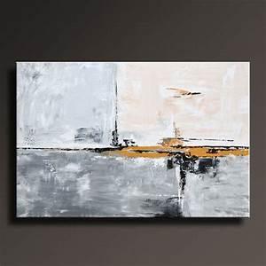 Peinture En Noir Et Blanc : 48 grand original or gris noir blanc peinture sur toile par itarts peinture tableaux ~ Melissatoandfro.com Idées de Décoration