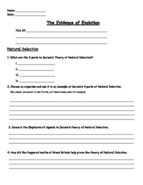 Evolution  Natural Selection Worksheet By Engaging Einsteins Tpt