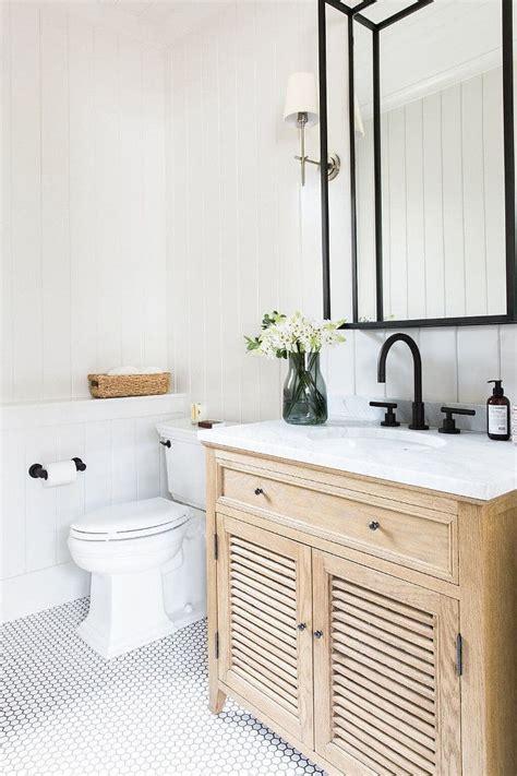 neutral farmhouse bathroom  vertical shiplap hex