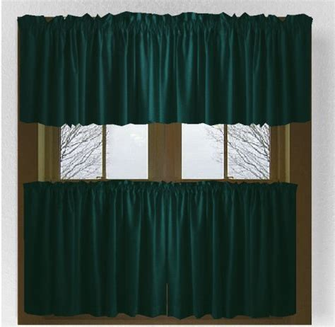 solid dark teal colored cafe style curtain includes