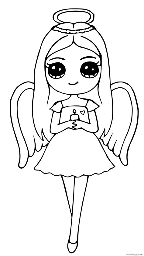 angel cute girl coloring pages printable