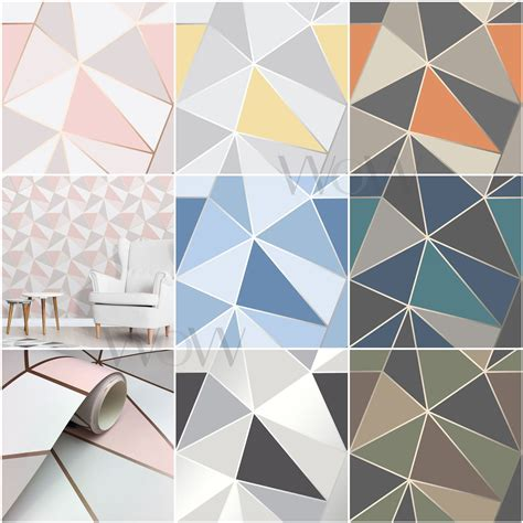 fine decor apex geometric wallpaper metallic rose gold
