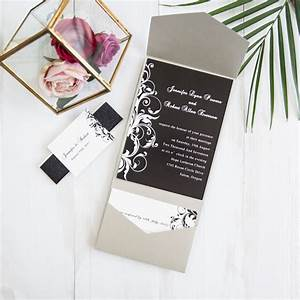 classic black and white floral pocket wedding invitations With cheap wedding invitation belly band
