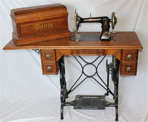 vintage davis vertical feed treadle sewing machine with accessories excellent awesome vintage